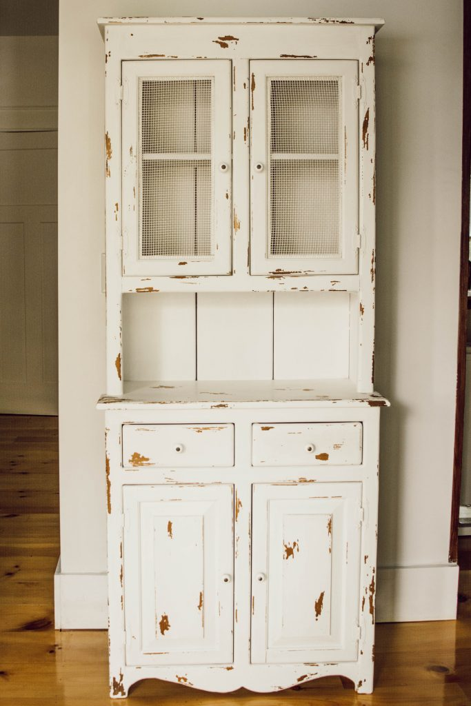 diy chippy painted cabinet by White and Woodgrain