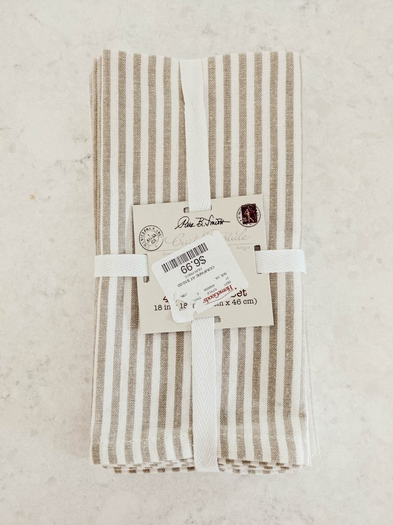 4 pack of neutral striped cloth napkins