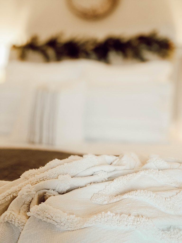 white textured boho farmhouse style throw blanket