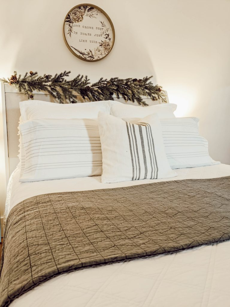 cozy neutral winter quilts and pillows