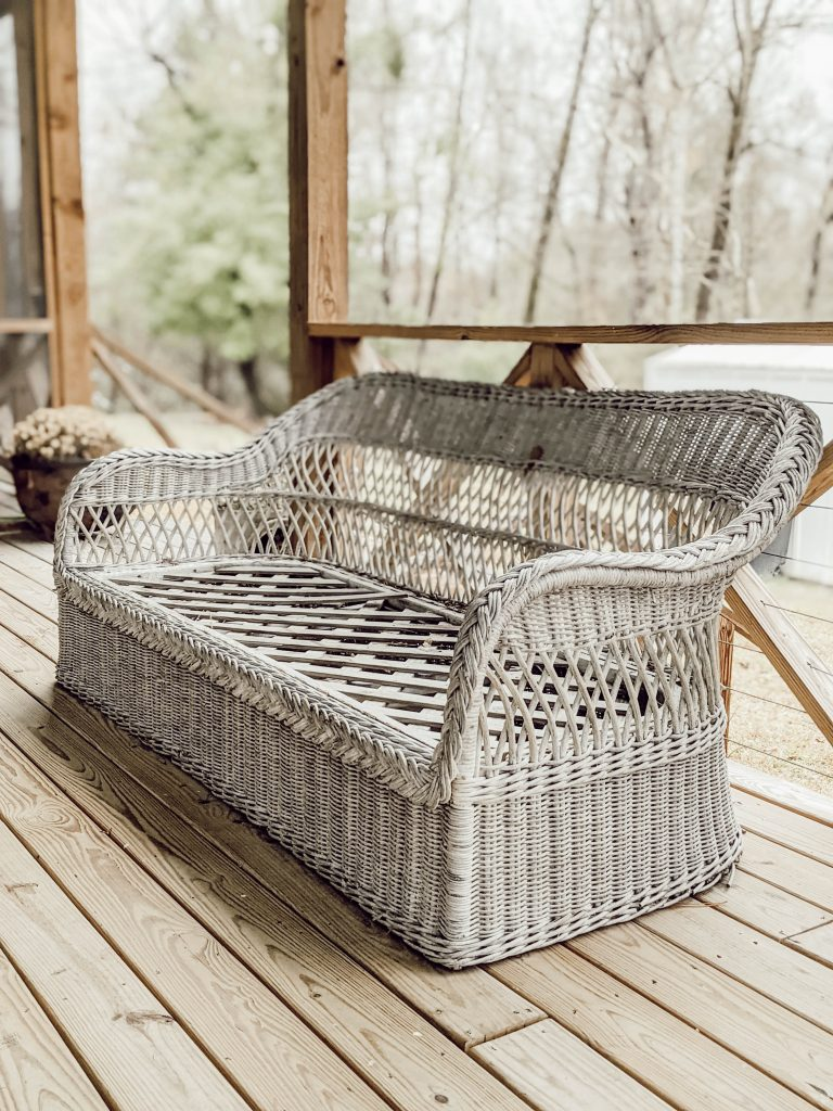 vintage roadside find in the form of an old wicker couch