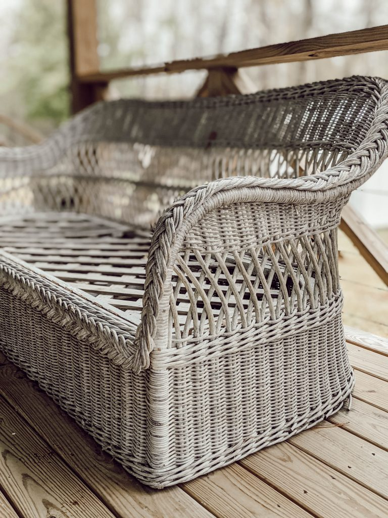 white weathered wicker couch