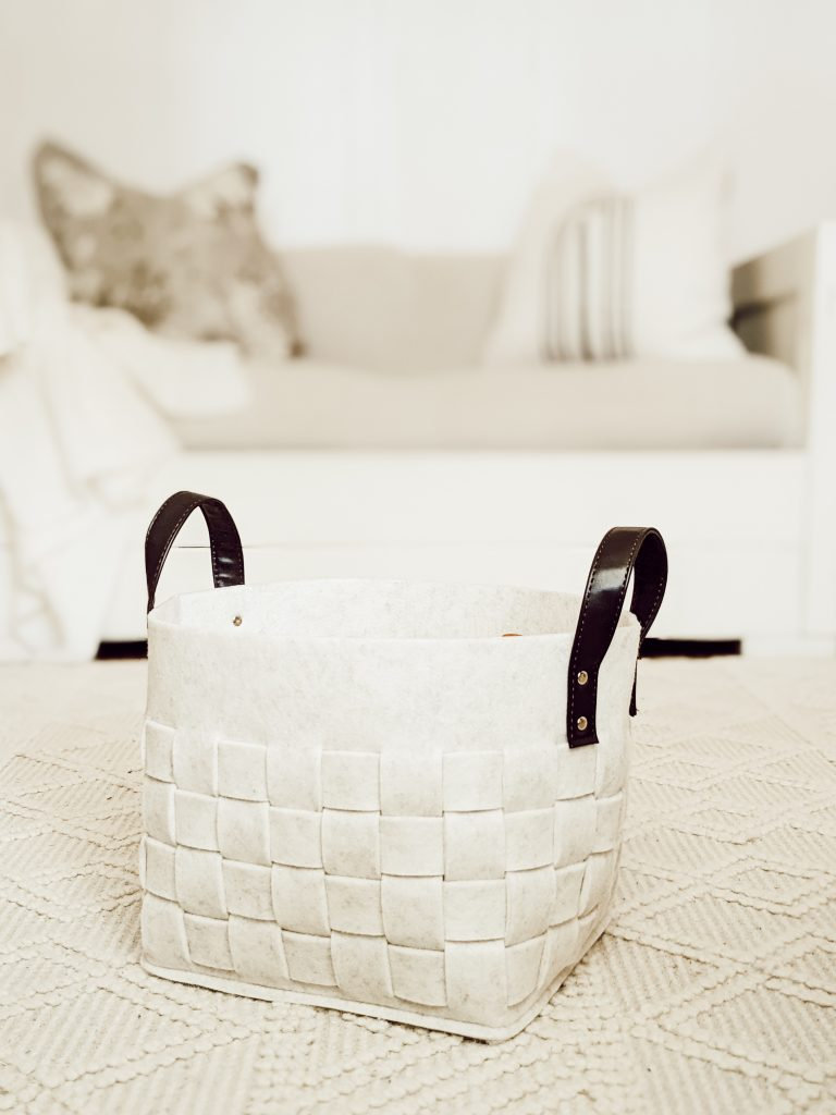 woven felt basket with leather handles from target