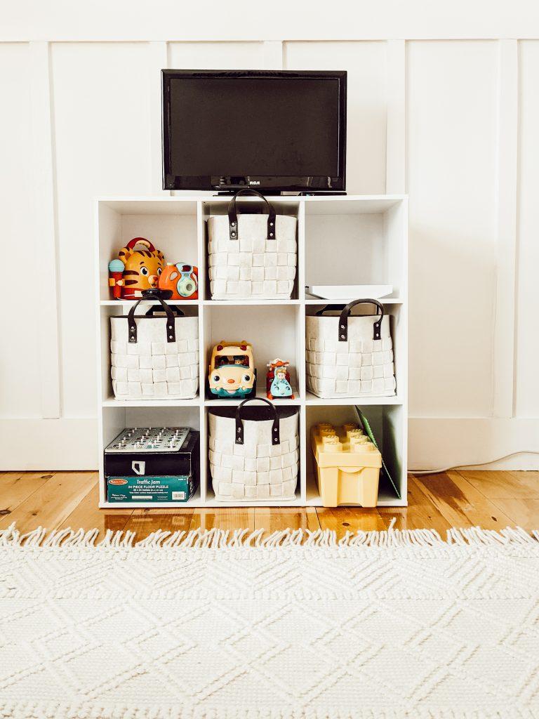 neutral farmhouse storage bins that fit into an 11 inch cube shelf