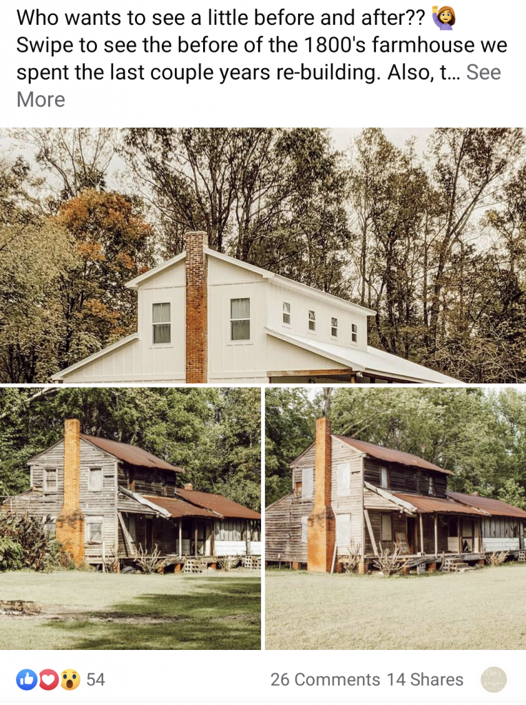 farmhouse before and after is the top facebook post of 2020 for White and Woodgrain