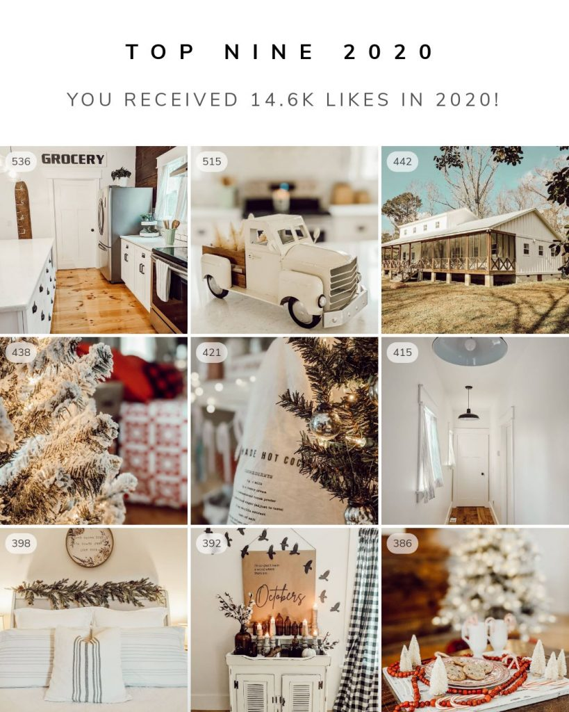 looking back on 2020 with White and Woodgrain's top 9 instagram posts