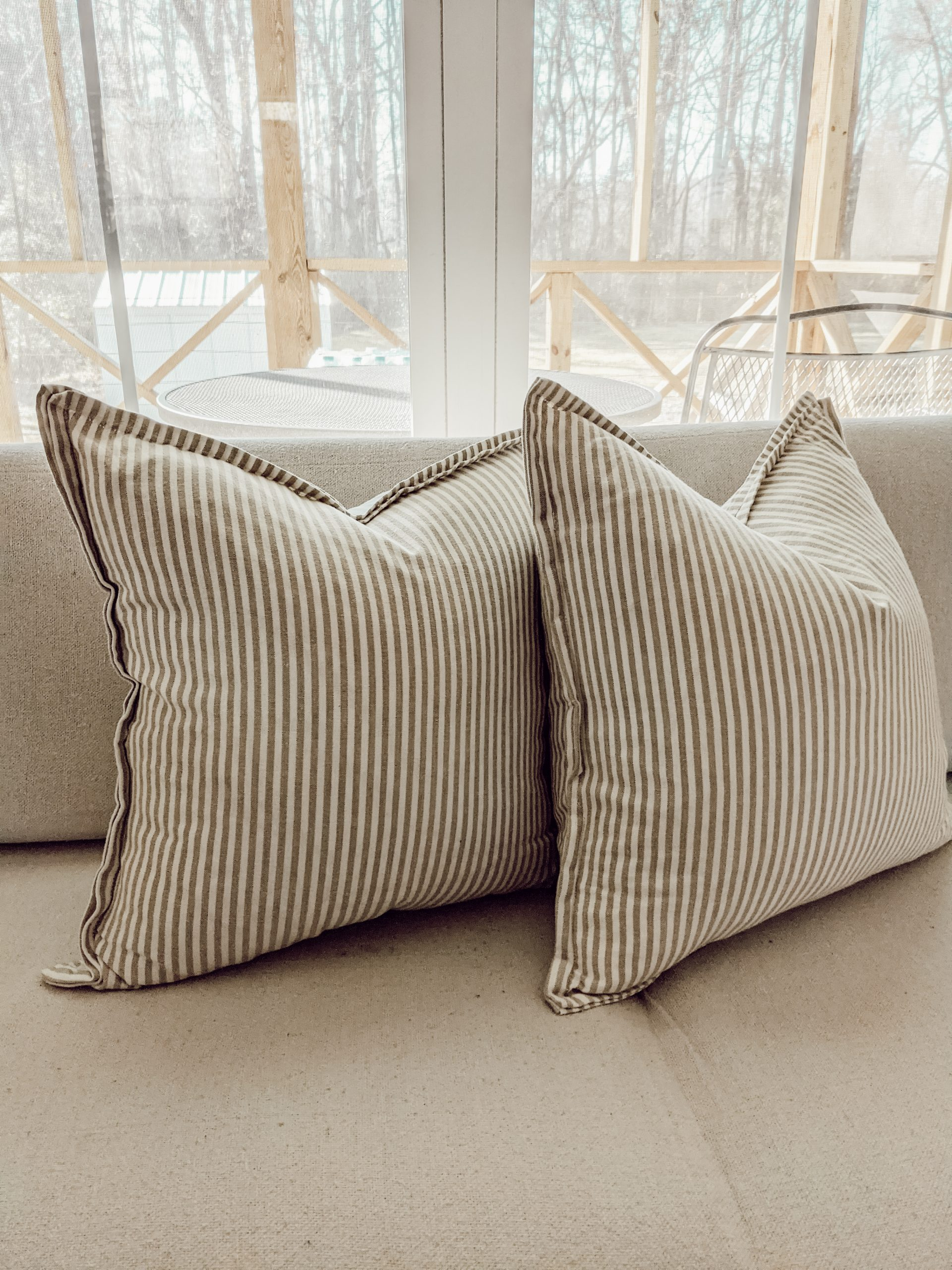 striped beige and cream pillows