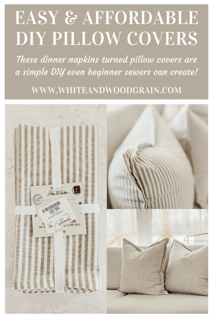 DIY cloth napkin pillow covers