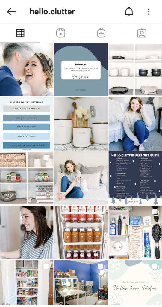 Hello Clutter's Instagram feed is full of decluttering tips and advice